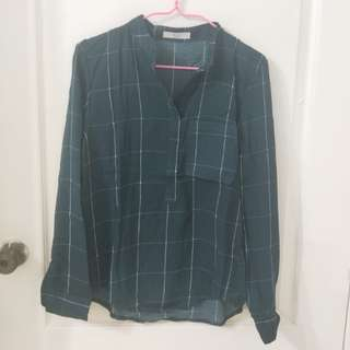 Olive Green Grid Blouse