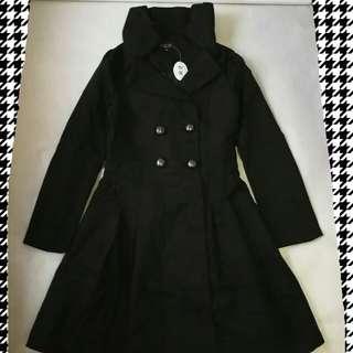 🆕全新LILI CO黑色孖襟A字中褸大衣 NEW LILI CO Black Double Breasted A-Line coat