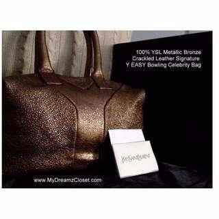 100%YSL金属青铜皮革签名Y EASY Kylie Minogue名人袋