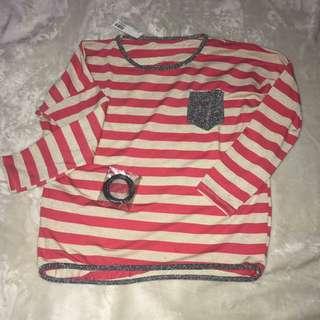 Striped Salmon blouse (M-L)
