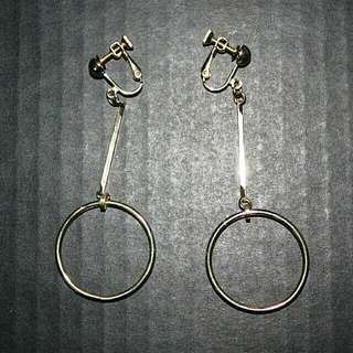 Golden Hoops Clip On Earrings