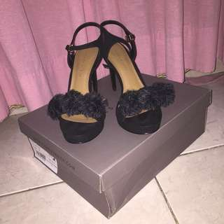 [NEW] Black Fur Charles & Keith Shoes