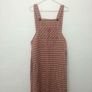 🌿古著紅x米黃格紋吊帶長裙