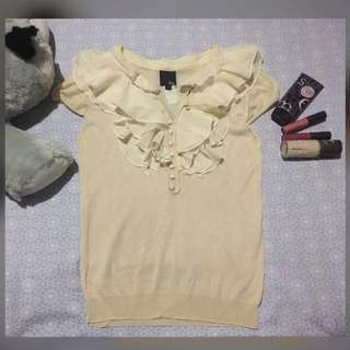 REPRICED!!! Beige Rappled Blouse