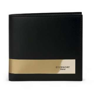 Givenchy Black Leather Gold Stripe Bi-Fold Wallet