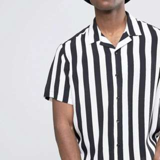 Monochrome Black and White Stripe viscose shirt size XS