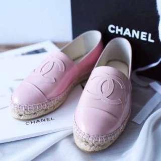 Chanel 漆皮漁夫鞋 粉嫩色 39號適合25腳