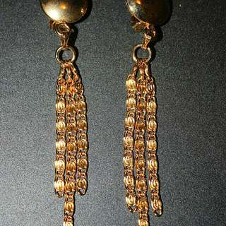 Golden Dangly Clip On Earrings