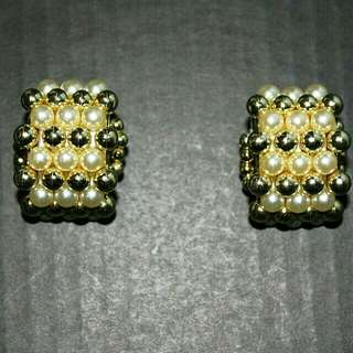 Large White and Gold Beads Clip On Earrings