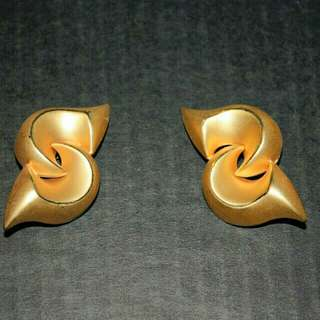 Large Golden S Shaped Clip On Earrings