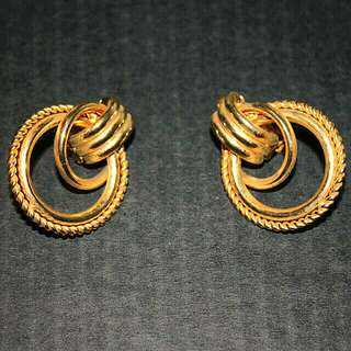 Large Vintage Clip On Earrings