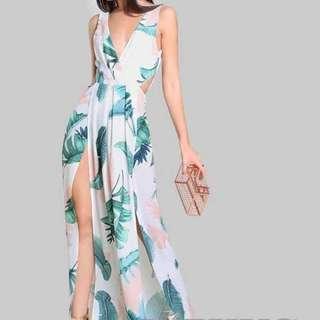 Sexy Double Slit Maxi Dress