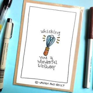 Hand Drawn Card: Whisking You A Wonderful Birthday