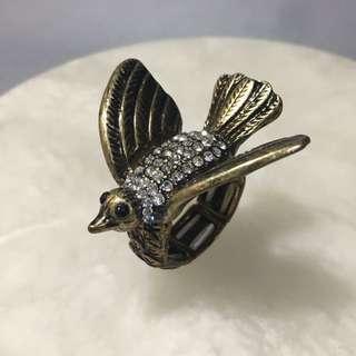 🚚 🐥復古 古銅金 鑲鑽 小鳥 造型戒指