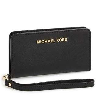 全新正品Michael Kors Jet Set Travel Slim Tech Leather Phone Wristlet 真皮電話銀包 錢包 Wallet Purs