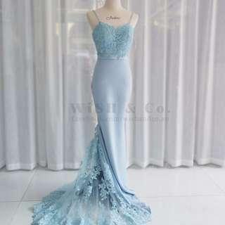 Spaghetti Straps Lace Blush Train Satin Skirt Floor Length Bridesmaid Dresses Blue Mermaid Custom Made Evening Dress FJL001