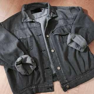 古著 灰色復古牛仔外套