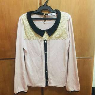 Peach Top Cardigan with Collar