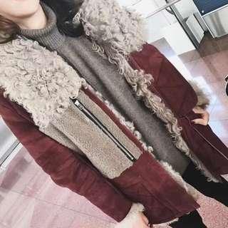 棗紅色羊羔毛領外套《🇰🇷韓國直運✈️》