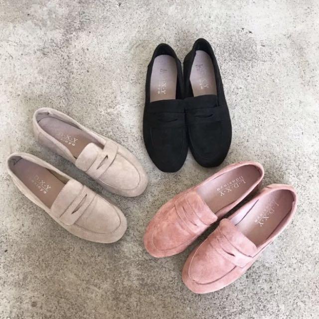 鹿皮休閒平底鞋懶人鞋