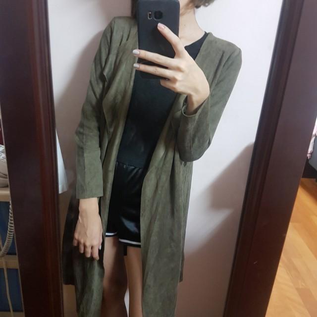 墨綠長版外套