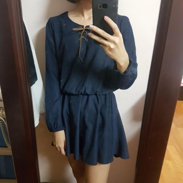 深藍綁帶連身裙