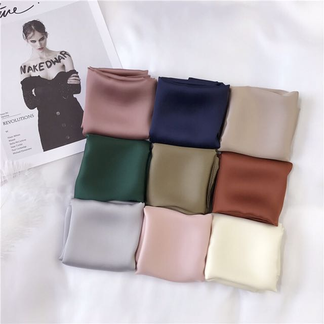 純色小方巾絲巾領巾