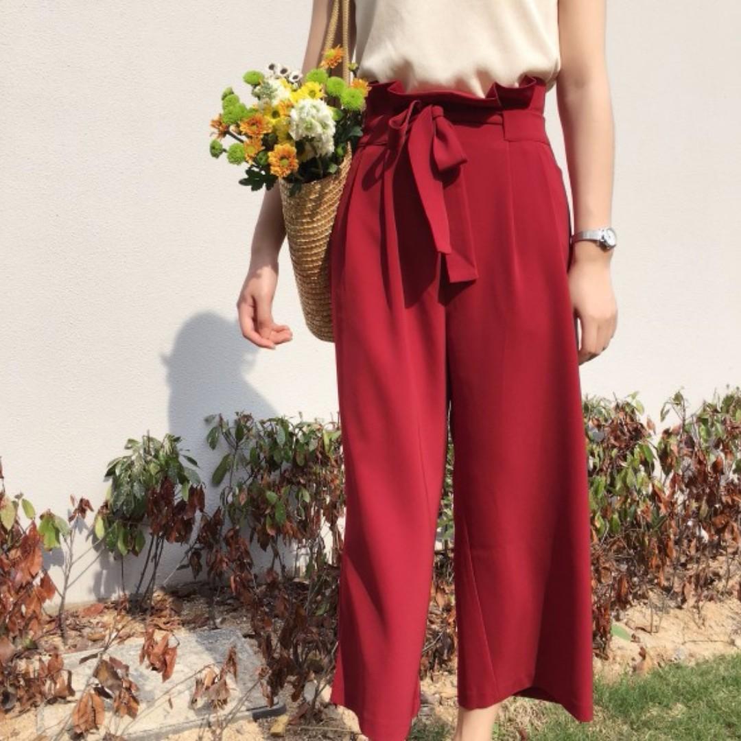深紅色寬鬆高腰九分闊腿褲