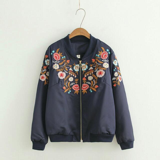 韓單繡花舖棉外套