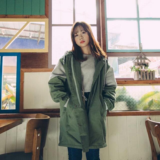 韓單長版內舖毛長版外套