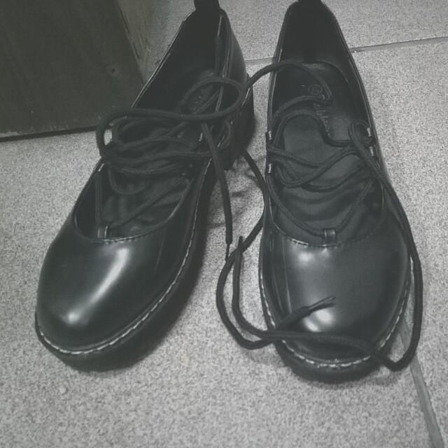 黑色綁帶厚底娃娃鞋 23.5~24
