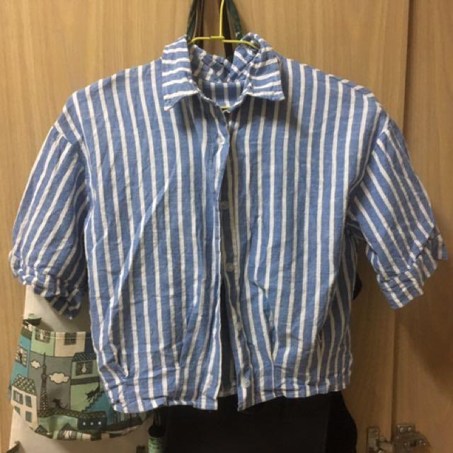 短款條文藍白短袖上衣外套