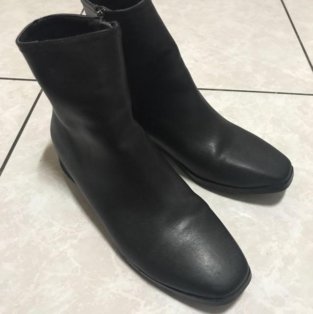 《二手》方頭復古低跟短靴