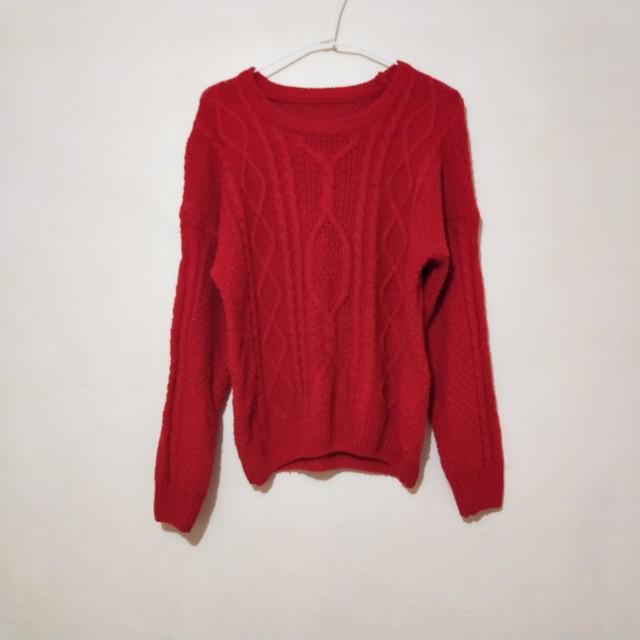 【贈品】紅色圓領保暖毛衣