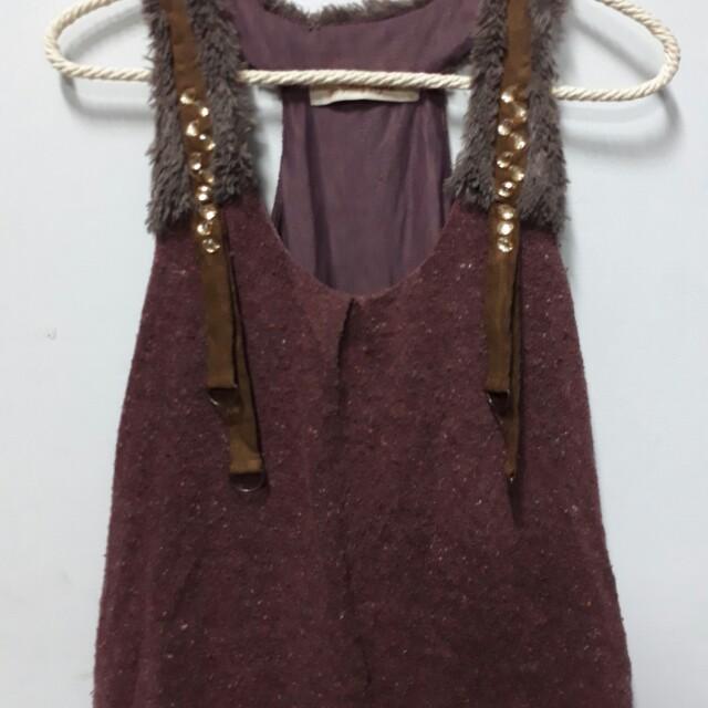 深紫色多層次背心吊帶裙