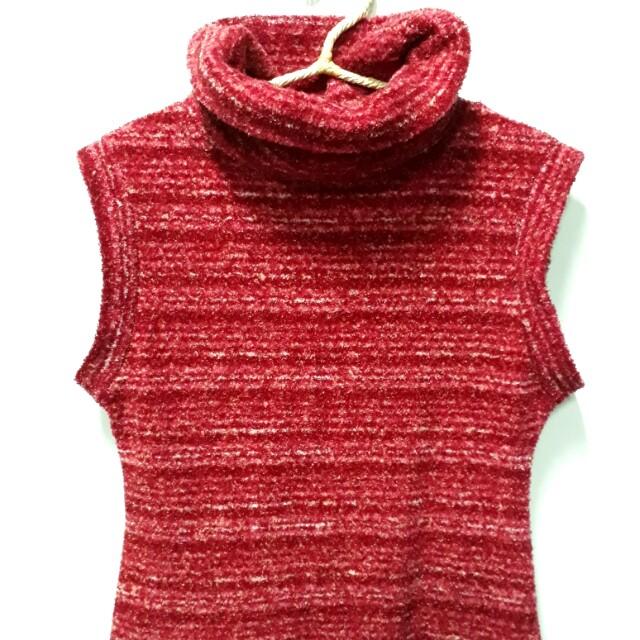 高領紅白條紋洋裝