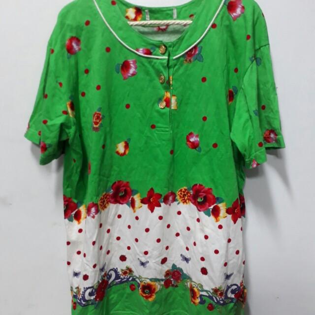 古著綠色花柄長版上衣