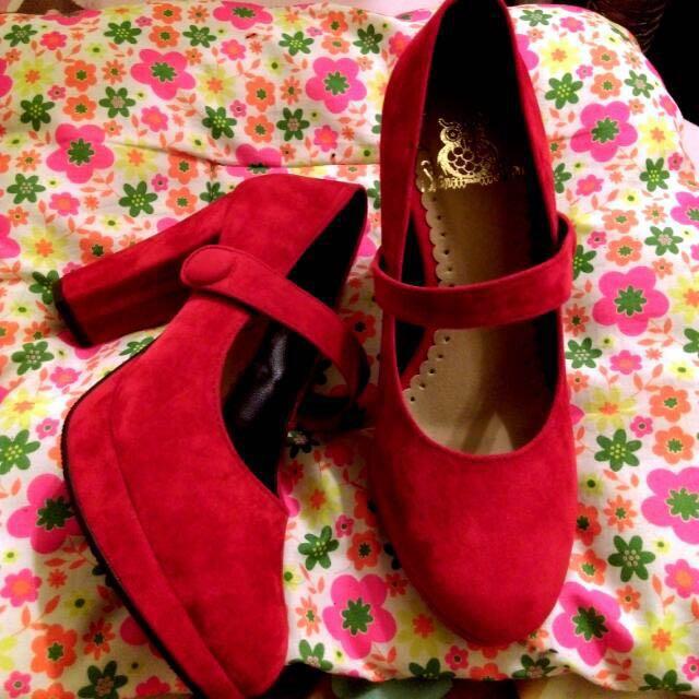 🌹麂皮紅色高根鞋
