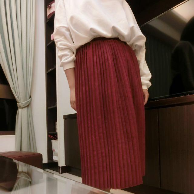 酒紅色燈絨芯長裙
