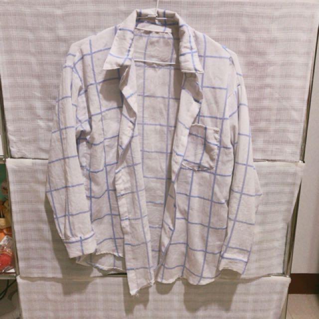 藍色格子罩衫