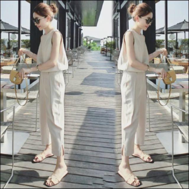 韓版米白色休閒連身褲