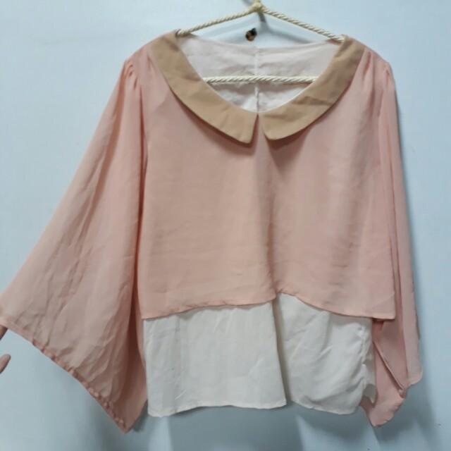 全新 粉色蝴蝶袖雪紡上衣