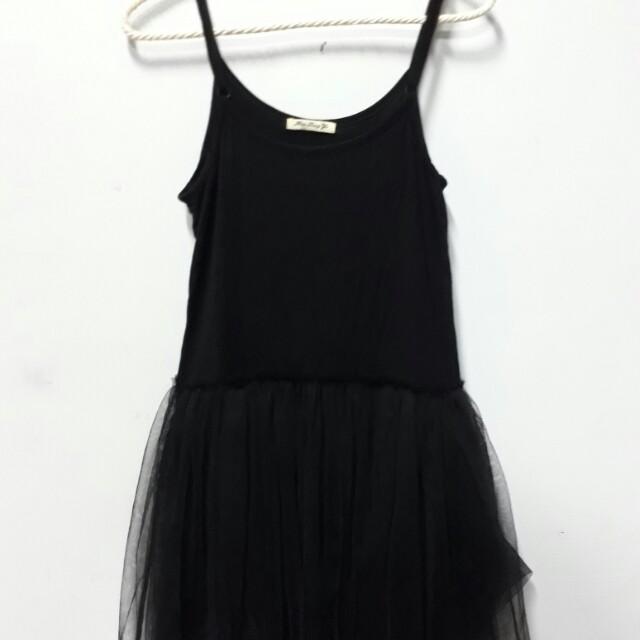 黑色可調整 背心式紗裙