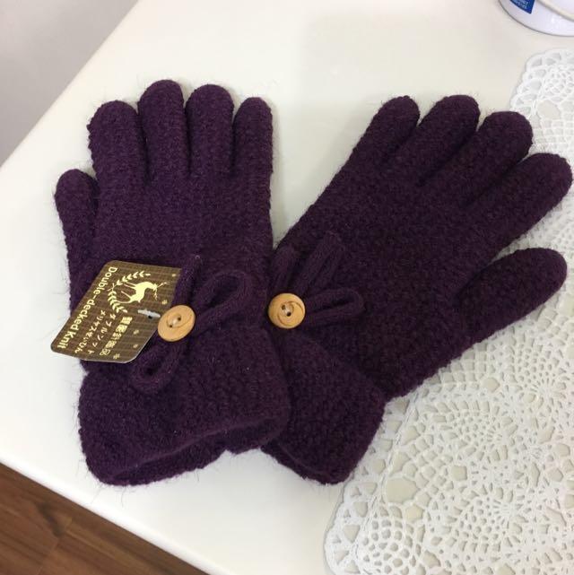 深紫色 雙層針織手套