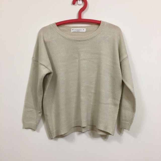 米白 針織微短板毛衣