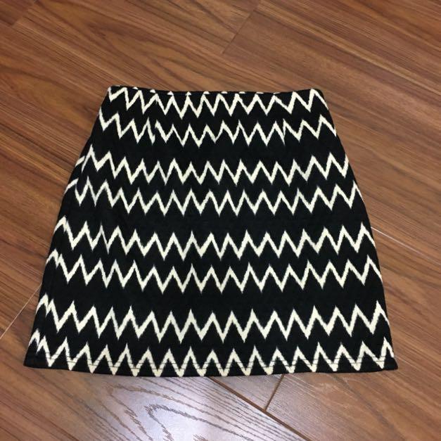 復古閃電樣式 高腰棉質短裙