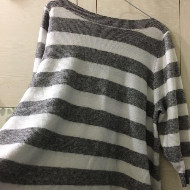 灰白顯瘦條紋上衣 #幫你省運費