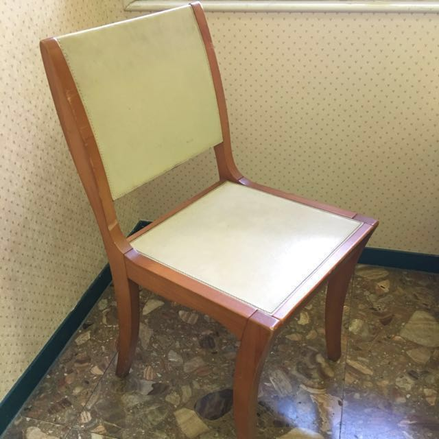 老件 原木真皮餐桌椅 椅子