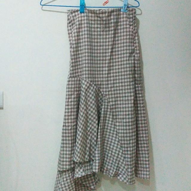 (衣物兩件免運)長裙 格子 不規則裙尾