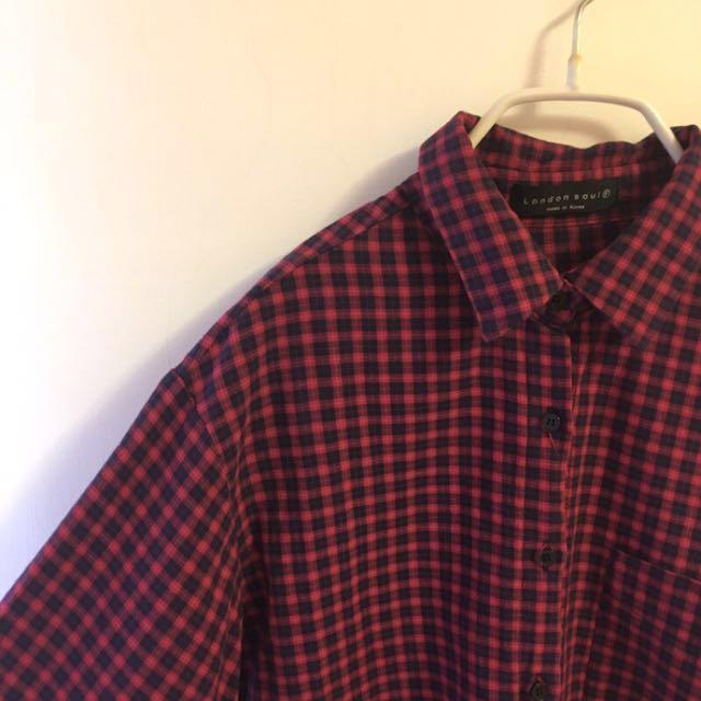 二手衣 🇰🇷正韓製 格子襯衫 #四百不著涼